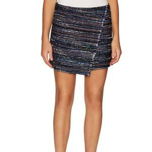$298 DVF  Austyn TWEED Textured Wrap Mini Skirt